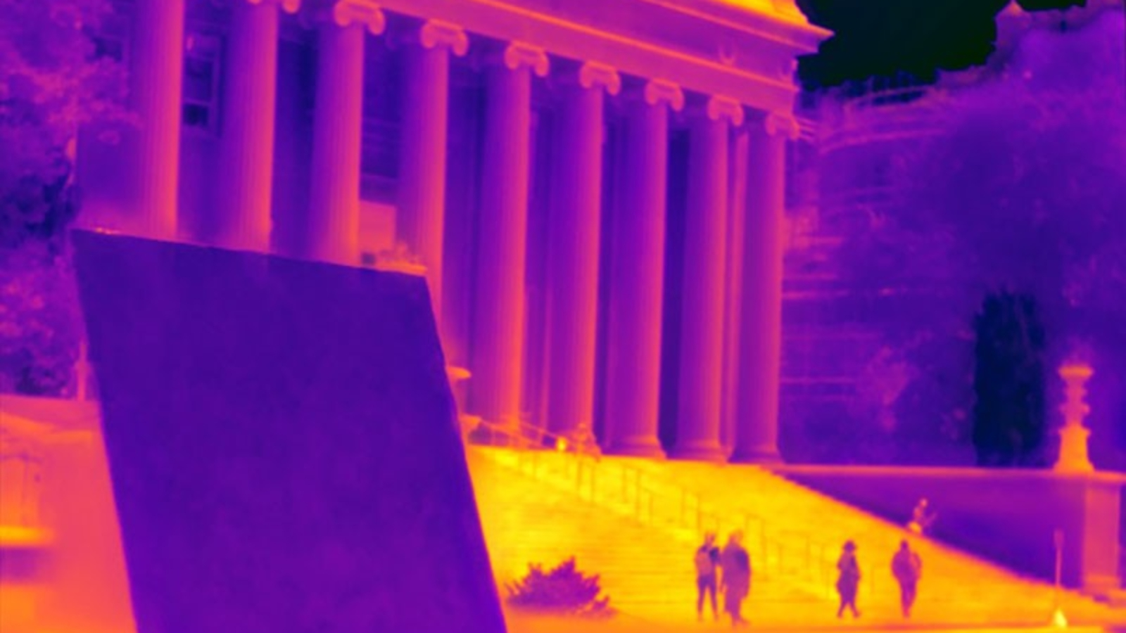 Infrared Image of Building With Super Cooled Coating