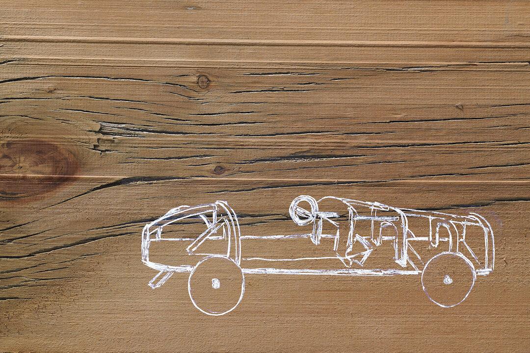 Car Sketch On Wood